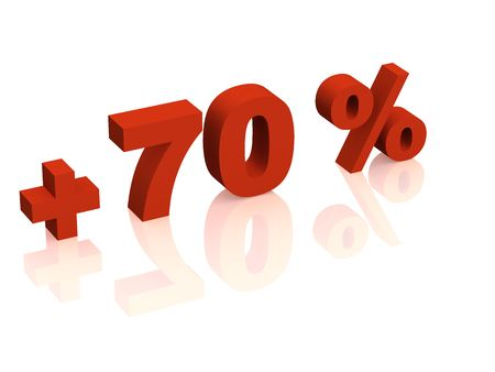tell: Red 3d inscription - plus of seventy percent. Objects over white Stock Photo