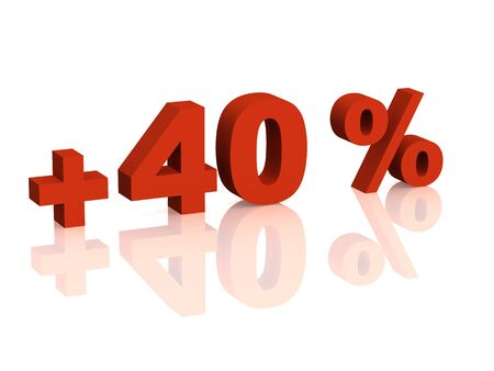 forty: Red 3d inscription - plus of  forty percent. Objects over white