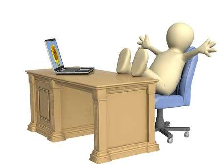 weariness: The 3d person - puppet, thrown foots on office table. Objects over white