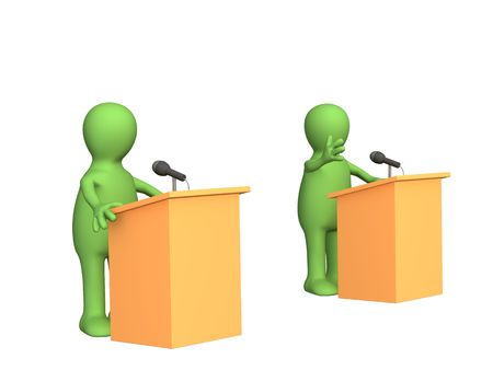 election debate: The 3d people - puppets, participating political debate. Objects over white