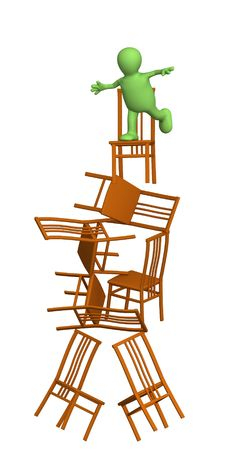 3d puppet, balancing at top of a pyramid from chairs. Objects over white photo