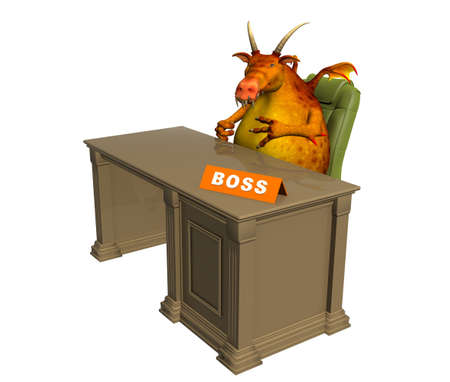 violent: The 3d monster - boss, sitting at office. Objects over white Stock Photo
