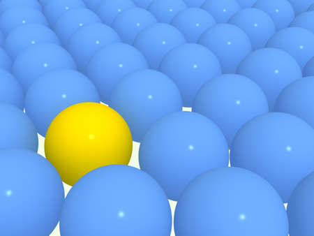exoticism: 3d yellow sphere among blue spheres