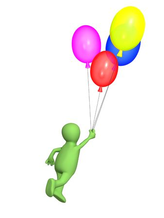 depart: 3d  person - puppet, flying by balloons. Objects over white