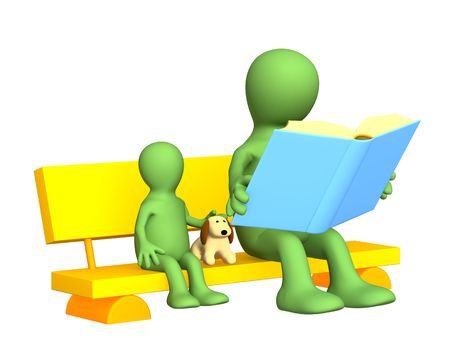 grandson: Puppet - parent, reading to the child the book. Objects over white