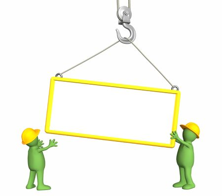 building inspector: Builders - puppets, lowering a frame on a hook. Objects over white