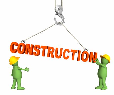 building inspector: Builders, omitting a word construction on a hook. Objects over white