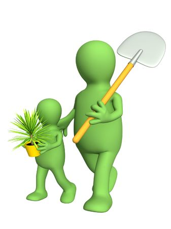 hand trowel: Puppets - adult and child, going to land a plant. Objects over white