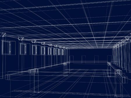 3d abstract sketch of an inter of a public building. Objects over white Stock Photo - 2874581
