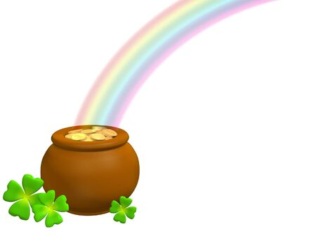 3d pot with gold at the basis of a rainbow Stock Photo - 2874563