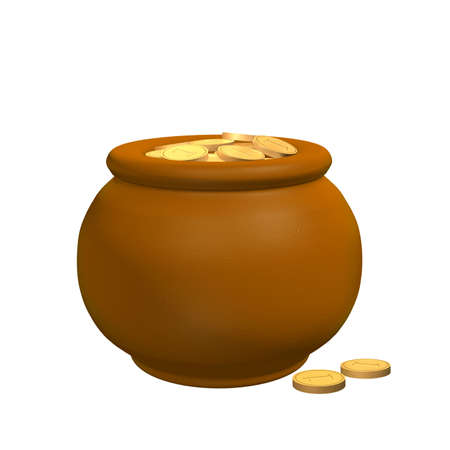 3d pot from the clay, filled with gold coins Stock Photo - 2874572