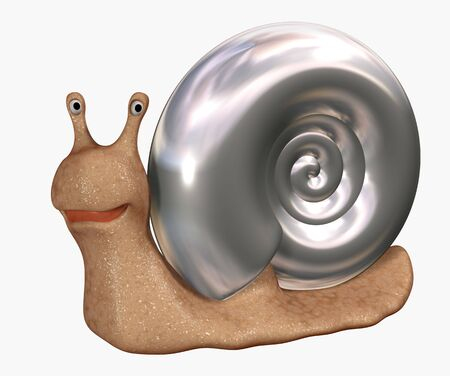 chromeplated: Smiling 3d snail with a bowl from chromeplated metal. Objects over white Stock Photo