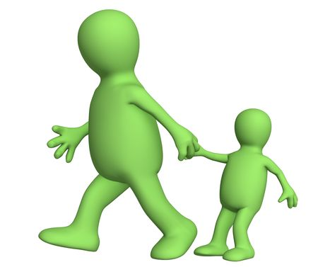 Puppet - adult, pulling for a hand of the small child. Objects over white Stock Photo - 2886877