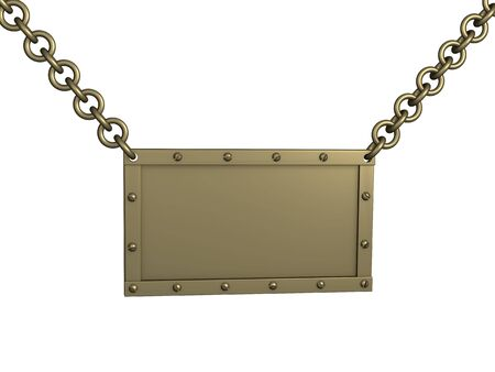 The 3d brass tablet, suspended on circuits. Objects over white Stock Photo - 2905772