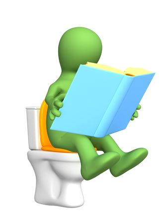 necessity: 3d puppet, sitting with book on toilet bowl. Objects over white