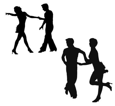 Black silhouettes of the man and the woman, dancing jive Stock Photo - 2915123