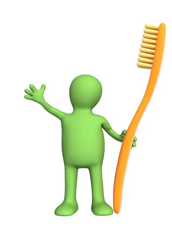oral hygiene: 3d person - puppet with an orange tooth-brush. Objects over white