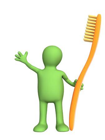 higiene bucal: 3d persona - t�tere con una naranja-cepillo de dientes. Los objetos m�s blanco
