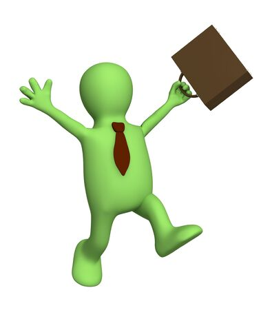 overjoyed: Happy puppet - businessman with a portfolio. Objects over white