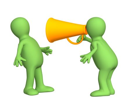 persuasion: 3d person - puppet with an orange megaphone. Objects over white
