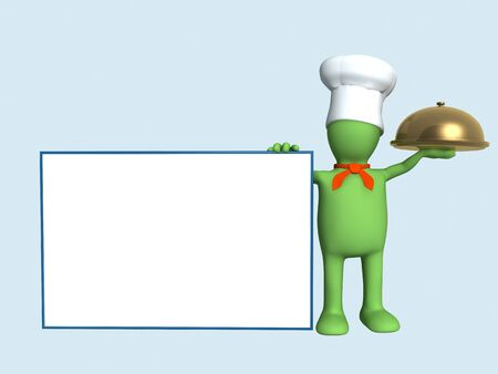 caterer: Background -  puppet chef with a gold dish. Objects over blue