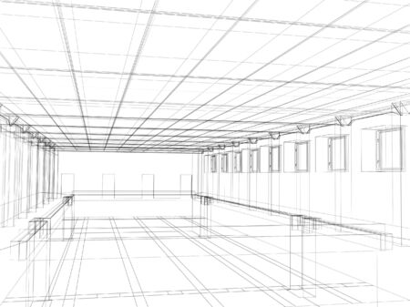3d abstract sketch of an interior of a public building. Object over white Stock Photo - 2939898