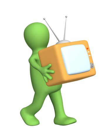 3d puppet, carrying in hands of retro TV. Object over white photo