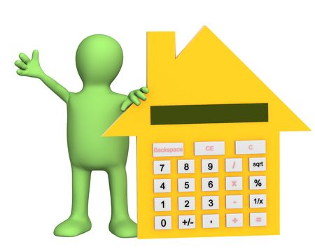 3d puppet: 3d puppet with calculator in form of house. Object over white