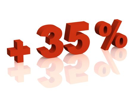 thirty five: Red 3d inscription - plus of thirty five percent. Objects over white