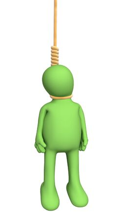 choking: 3d person puppet, hanging in a rope loop. Objects over white Stock Photo