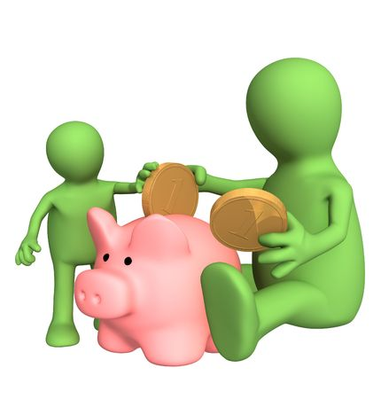 dividend: Adult and child together lowering coin in piggy bank. Object over white