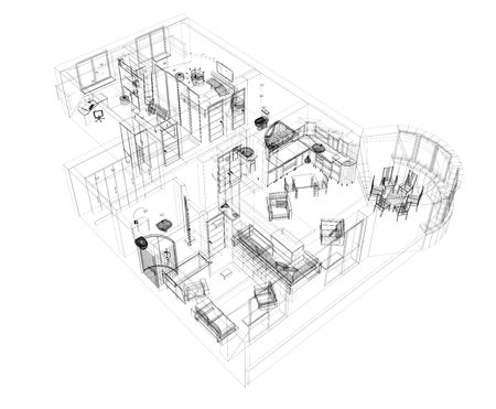 furniture idea: 3d sketch of a four-room apartment. Object over white