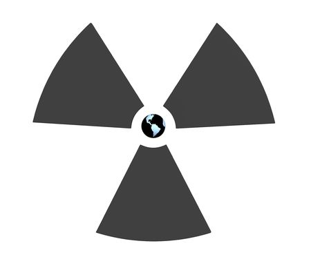 Radioactive 3d symbol with Earth in the center. Object over white Stock Photo - 2983409