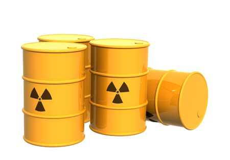 Four yellow tanks with a radioactive symbol. Object over white Stock Photo - 2983414