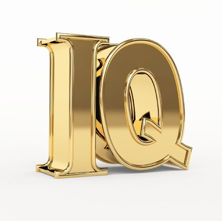 two minds: Golden 3d  letters I and Q. Object over white Stock Photo