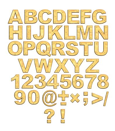 Alphabet - 3d golden letters with rivets. Object over white Stock Photo - 3007207