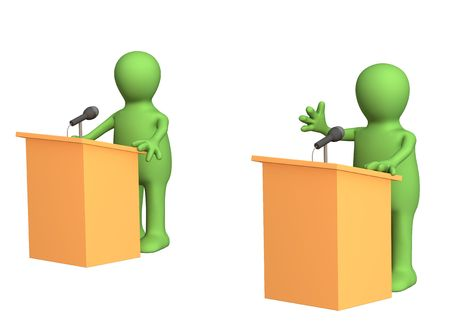 3d people - puppets, participating political debate. Object over white photo
