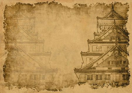 ancient papyrus: Background - ancient Japanese houses, drawn by ink on a rice paper