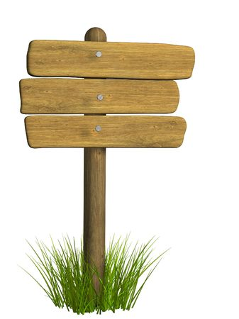 tether: Wooden signboard from three boards. Object over white