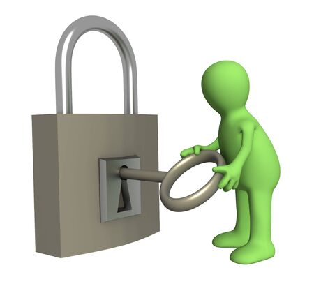 especial: Person puppet opening lock by a key. Objects over white Stock Photo