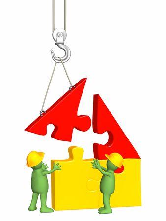 crane parts: 3d t�teres de trabajo la construcci�n de la casa. Objeto m�s de blanco  Foto de archivo