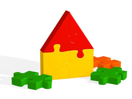 House from a bright 3d puzzle. Object over white photo
