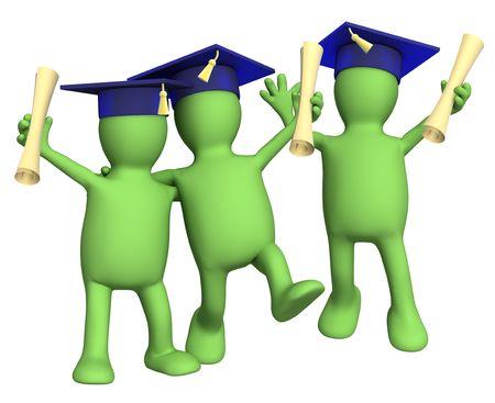 graduacion caricatura: Feliz schoolfellows amigos con los t�tulos. Objeto m�s blanco
