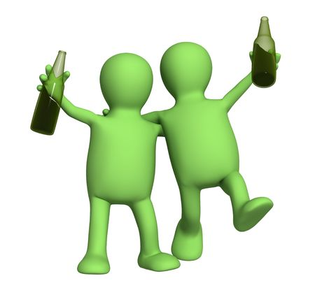 alcoholic beverage: Two cheerful friends with bottles of beer. Object over white