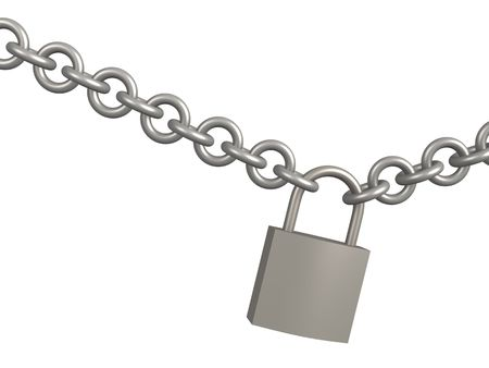 closed lock: 3d closed lock, hanging on a circuit. Object over white