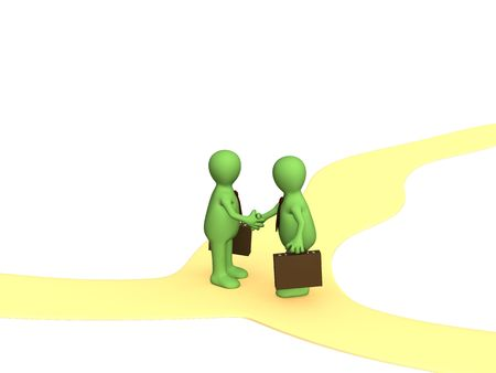 forked: Meeting of two businessmen on crossroads. Object over white Stock Photo