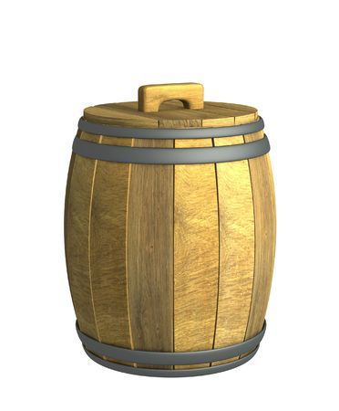 Old wooden 3d wine a barrel. Object over white photo