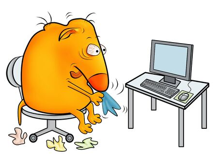 bad condition: Unwell creature with a cold, working at office Stock Photo