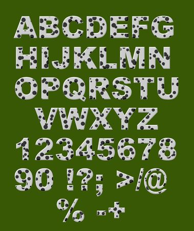speckled: English alphabet - white letters with black circles