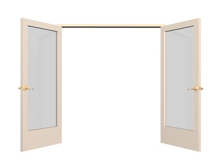 Open 3d door with glass inserts. Object over white photo
